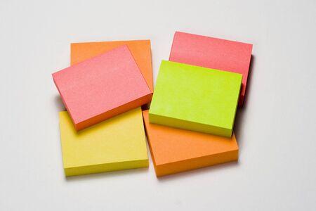 Pile of fluorescent sticky notes Banco de Imagens