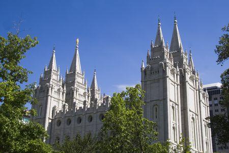 Salt Lake City Utah Mormon Church of Jesus Christ of Latter-day Saints temple Stock Photo