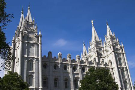 salt lake city: Iglesia morm�nica de Utah de la ciudad de lago salt de Jes�s Cristo del templo de los santos del Ultimo-dia Foto de archivo