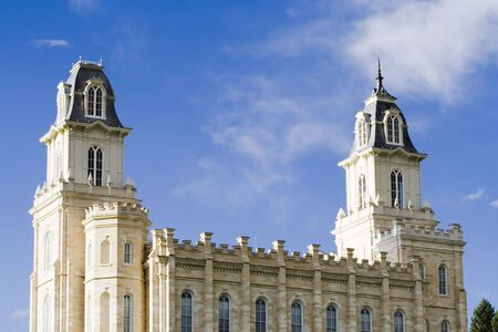 mormon: LDS Mormon temple in Manti Utah Stock Photo