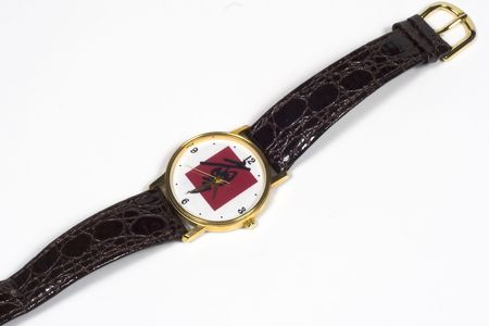 dressy: Dressy wristwatch with Chinese character (not brand or logo for watch) Stock Photo