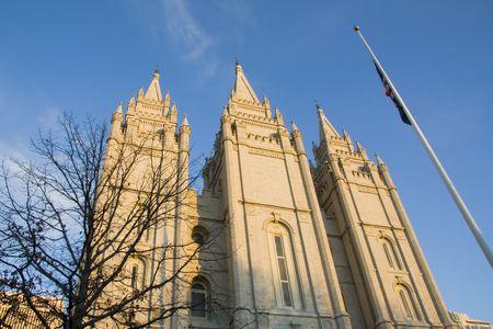 lds: The Salt Lake City, Utah LDS (Mormon) temple taken at dusk.