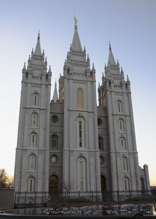 The Salt Lake City, Utah LDS (Mormon) temple taken at dusk. photo