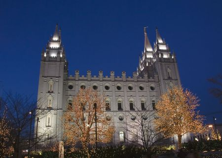 The Salt Lake City, Utah LDS (Mormon) temple taken after sunset with  lights photo