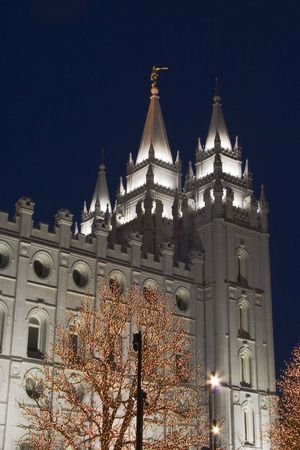 mormon temple: The Salt Lake City, Utah LDS (Mormon) temple taken at night Stock Photo