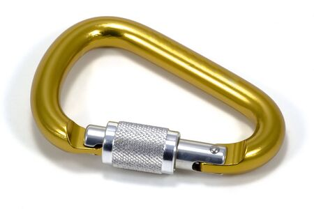 carabineer: Carabineer used in rock climbing, repelling, parachuting and other sports Stock Photo