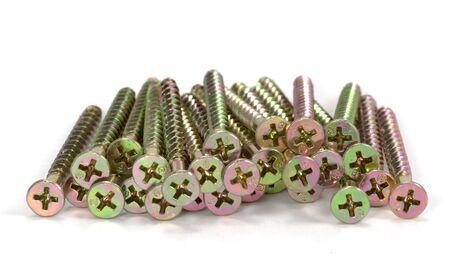 Group of brass colored grabber screws