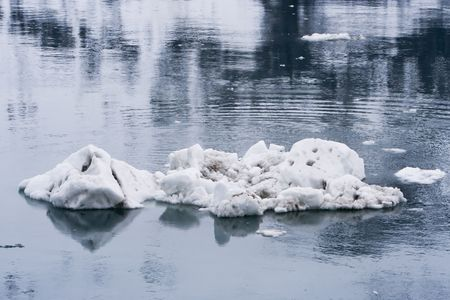 An ordinary iceberg floating in the water in Glacier Bay National Park Alaska
