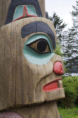 Alaska totem paal van Eureka natuur Village in Ketchikan Alaska  Stockfoto