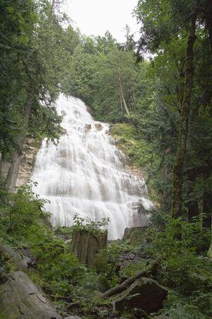 Water flowing down Bridal Veil Falls in British Columbia Canada
