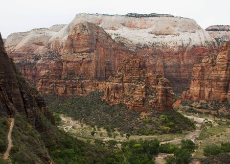 Angels Landing and other large monoliths formed by water erosion formed by the Virgin River n Zion National Park Utah