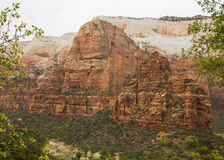 Angels Landing formed by water erosion formed by the Virgin River n Zion National Park Utah