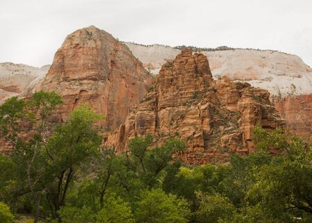 Large monoliths formed by water erosion formed by the Virgin River n Zion National Park Utah