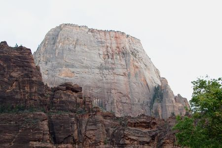 Great White Throne rock formation formed by water erosion formed by the Virgin River n Zion National Park Utah