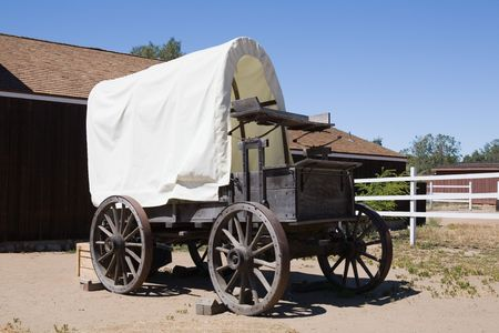 covered wagon: Old style covered wagon used in the 1800�s for transportation