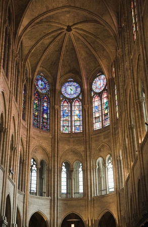 stained glass windows: Front all inside Notre Dame Cathedral showing the ceiling and stained glass windows