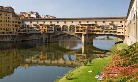 Ponte Vecchio Bridge in Florence Italy crossing over the Arno  river. The oldest bridge in Florence