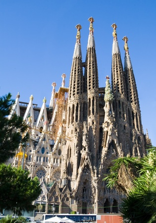 Sagrada Familia Temple, a famous architectural landmark designed by the famous architect, Antonio Gaudi Editorial