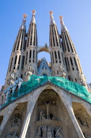 Sagrada Familia Temple, a famous architectural landmark designed by the famous architect, Antonio Gaudi Редакционное