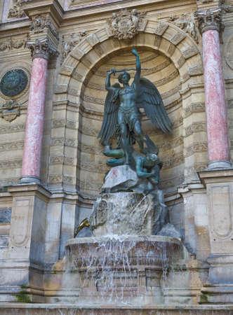 fontaine: The famous La Fontaine Saint-Michel water fountain in Paris, France Stock Photo