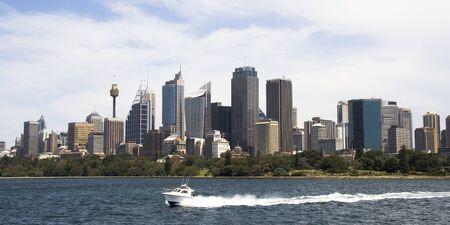 시드니, 호주에있는 건물 시드니 하버에서 가져온 비즈니스 지구 스카이 라인