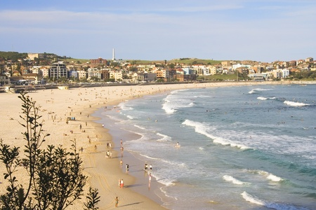 Bondai Beach filled with people on a summer day in Sydney, New South Wales, Australia