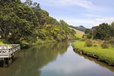 Peaceful stream flowing from the hills near Whitianga on the Coromandel  peninsula in New Zealand shot from bridge Banco de Imagens