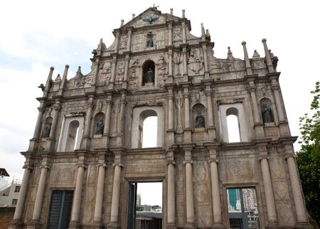 Sam Ba Sing Tzik is the remaining front wall of the ruins of St Pauls church in Macau