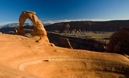 delicate arch: Famous Delicate Arch at sunset of Arches National Park in the Southern Utah desert