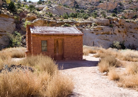 Early stone pioneer house in the desert of Capitol Reef National Park Utah Stock Photo - 9339269