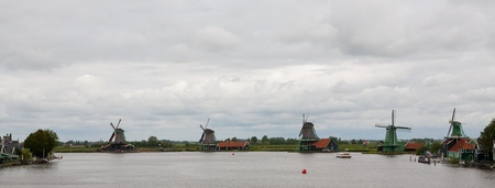 Authenticate Dutch windmills in the countryside at Kinderdijk outside of Amsterdam, The Netherlands