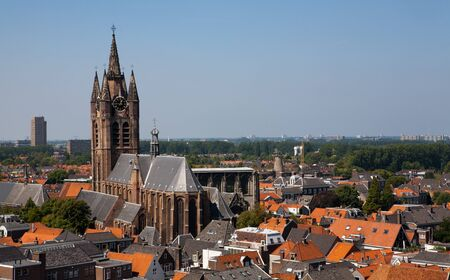 delft: City of Delft in The Netherlands taken from New Church tower