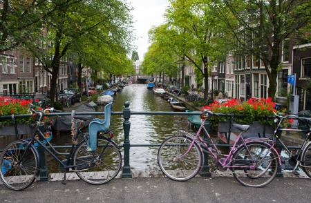 holland: City canal in Amsterdam, The Netherlands on a summer day