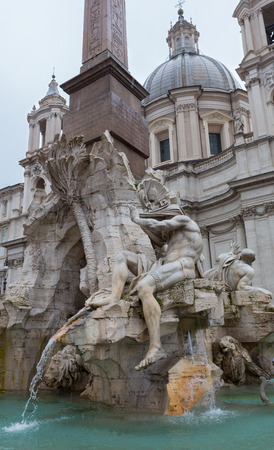 Sculpture in the Trevi Fountain in Rome, Italy, shot from an angle. Stock Photo - 28257117