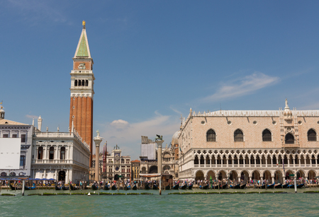 st marks square: St. marks Square in Venice, Italy filled withthe crowds of summer tourists