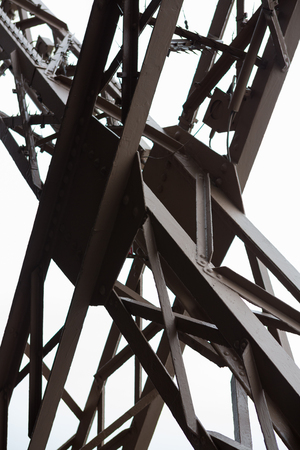 Close up of the structure of the Eiffel Tower in Paris, France.