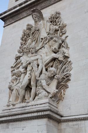 Relief sculpture on the leg of the Arc de Triomphe in Paris, France.