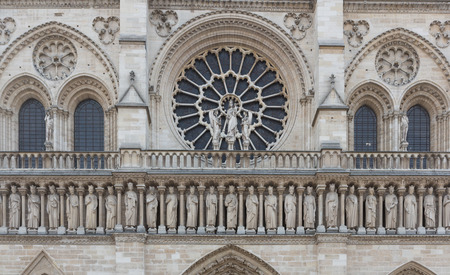 rose window: Rose window and freize of Notre Dame in Paris, France. Stock Photo