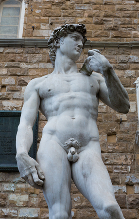 Close up of a replica of Michaelangelos David in Florence, Italy. photo