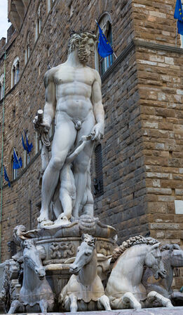 Replica of Ammannati's Neptune fountain in Florence, Italy on a sunny day.