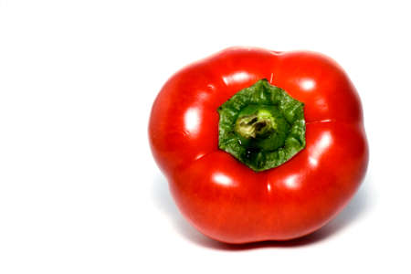bell peper: The red hot not chilli pepper :) isolated over a white bakground. Stock Photo