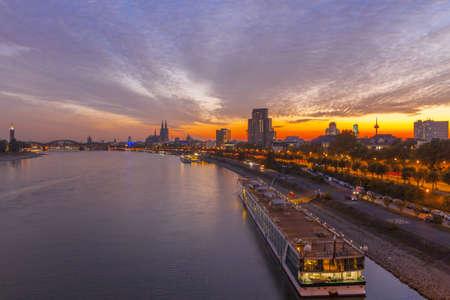 Germany, Cologne, Rhine, sunset Stock Photo
