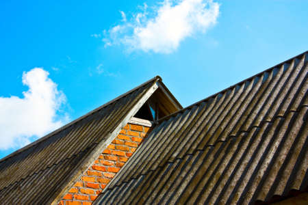 slate roof: Slate roof at two levels Stock Photo