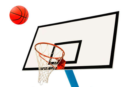 hoops: Backboard and ball on white background Stock Photo