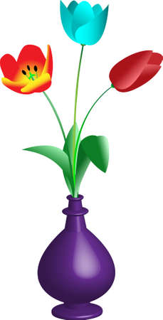 Bouquet of the three tulips Vector