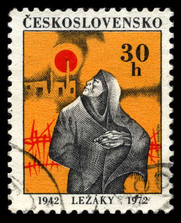 fascism: CZECHOSLOVAKIA - CIRCA 1972: A stamp dedicated to the memory of victims of Nazism in village Lezaky, circa 1972 Stock Photo
