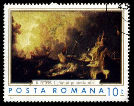 rumania: RUMANIA - CIRCA 1971: A stamp shows ancient seascape with a storm, circa 1971