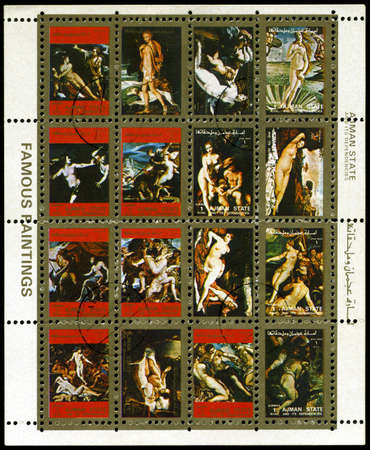 AJMAN - UNKNOWN YEAR: A Stamp sheet dedicated to famous paintings, unknown year Фото со стока