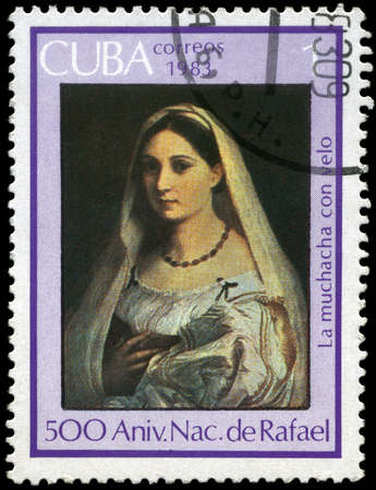 CUBA - CIRCA 1983: A Stamp shows Raphael's Art