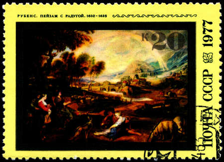 USSR - CIRCA 1977: A Stamp shows Rubens's painting Landscape with Rainbow, circa 1977 Stock Photo - 7242253